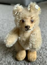 "VINTAGE Miniature Steiff Teddy Baby Bear W/ ID Beige Mohair 3.5"" Stands Too!"
