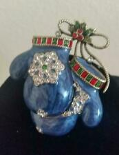 "Heidi Daus ""smitten Mittens"" Crystal & Enamel Blue Mitten Pin so Cute"