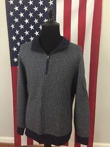 Bob Timberlake Merino Wool Blend Houndstooth Sweater men's XL grey 1/4 zip 1b847