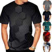 Fashion Men 3D Printed Tops Short Sleeve Crew Neck T-shirt Tee Sports Sweatshirt