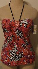 TANKINI womens bikini tops Floral and Animal Print 24th & Ocean Medium NWT