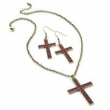 RETRO VINTAGE 90S GLAM GOTH GOLD RED CROSS CRUCIFIX NECKLACE EARRINGS SET