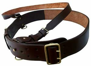 Genuine British Military Leather Sam Browne Belt With Crossover Strap
