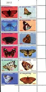 St. Martin Stamps [SC#0022]  (2012)  53-64 Butterflies MNH. complete set.