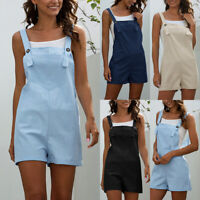 Women Casual Pocket Short Jumpsuit Female Ladies Summer Rompers Solid Playsuit H