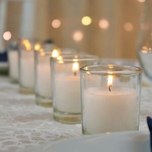 36 White Wax Clear Glass Holder Wedding Table Decoration Votive Candle 12hr burn