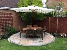 Teak Garden Furniture Set with extendable table, six chairs and parasol