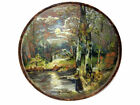 AMAZING VINTAGE RUSSIAN HAND PAINTED LANDSCAPE WALL PICTURE ON  WOOD !!!