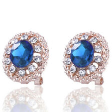 Womens Fashion Gold Plated Clip-on Ear Stud Earrings Crystal Rhinestone Jewelry