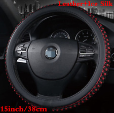 Black Red PU leather &Ice Silk 15'' 38cm Car Auto Steering Wheel Cover Durable