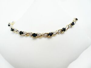 "Ladies Yellow Gold Sapphire and Diamond Bracelet 8"" Long"