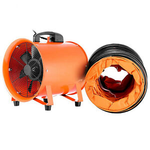 """10"""" Industrial Extractor Fan Blower with 5m Duct Hose Garage Electrical Utility"""