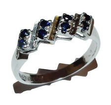 Fully Hallmarked 18ct White Gold & Sapphire Dress Ring - UK Size: L