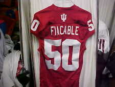 Indiana Hoosiers #50 Fiacable Home Game Worn Football Jersey Red/White Adidas