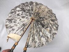 "Hand Made Animal Skin Hand Fan Leather Folk Art 12"" Wide - 16"" w/ Handle"