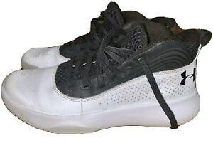 Under armour White Black Leather Sneakers Shoes 7 Mens Athletic