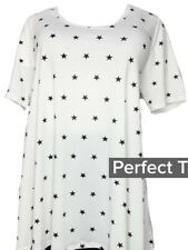 NWT Lularoe Size Large White with Black Stars Women's Perfect Tee Shirt Top