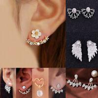 Korean Zircon Pearl Heart Crystal Flower Angel Wings Geometry Stud Earrings Gift