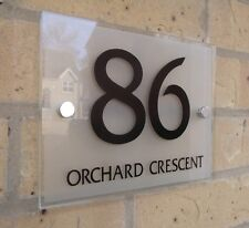 House Number Door Sign Plaque Modern Frosted Glass Effect Acrylic Metal Spacers