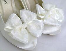 Ivory Shoe Clips 4 Shoes Ivory Satin Lace Dorothy Bows 4 Bridal Shoes Wedding