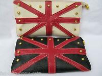 BLACK WHITE FAUX LEATHER UNION JACK ENGLAND FLAG LADIES PURSE CLUTCH BAG UK SELL