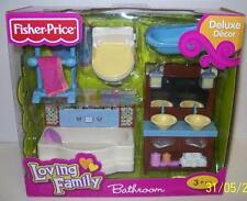 Loving Family Bathroom Toilet Sink Bathtub Dollhouse Furniture Mattel 2013 NEW