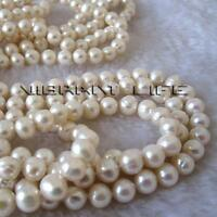 "Pearl Necklace 100"" 7-8mm White Off Round Freshwater Strand Cultured Natural"