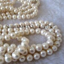 """Pearl Necklace 100"""" 7-8mm White Off Round Freshwater Strand Cultured Natural"""
