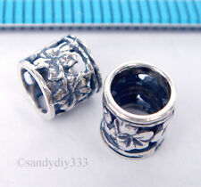 2x BALI OXIDIZED STERLING SILVER FLOWER TUBE SPACER BEADS 6.3mm 6mm #1569