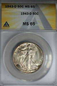 1943-D  .50   ANACS  MS 65  Walking Liberty, Half Dollar, Lady Liberty Half