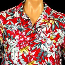 "Vintage Evalani Honolulu Hawaiian Aloha Shirt 42"" Chest Tropical Orchids Leaves"