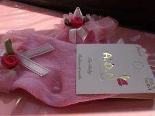 BRAND NEW GIRLS PINK SOCKS WITH RED ROSE AND GREEN LEAFS WITH BOW SIZEnewborn