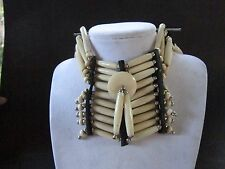 ANTIQUE WHITE BREASTPLATE CHOKER BUFFALO BONE JEWELRY NECKLACE   REGALIA TRIBAL