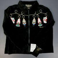 Christopher Radko Christmas Zipper Velour Black Jacket Orig $199 Size Large