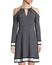 Plus 2X Michael Kors Black/White Polka Dot Chain Neck Cold Shoulder Dress NWT