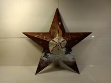 "Happy Snowman Copper Metal Star 22"" Christmas Winter Wall Decoration hd704"