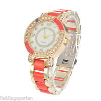 LP Keramikband Damen Uhr Armbanduhr Analog Damenuhr Quarz Uhr Watch Strass Rot