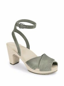 RaRe $250 SWEDISH HASBEENS CLOG gray LEATHER SHOES ankle strap SANDALS 40 woven