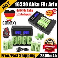 4/8/16x 2800mAh CR123A 16340 Wiederaufladbare Akku + Ladegerät für Arlo Camera