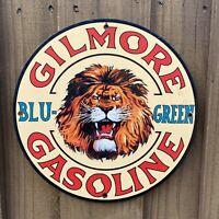 VINTAGE GILMORE BLU-GREEN GASOLINE PORCELAIN METAL SIGN USA OIL LION GAS STATION