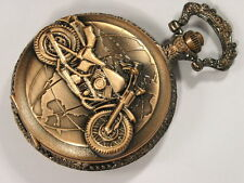 Antique Style Motorcycle Travels The World Pocket Mens Watch Copper Tone WTP2004