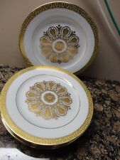 """ROYAL GALLERY GOLD BUFFET GOLD FLORAL 6  SALAD PLATES 8.5"""""""