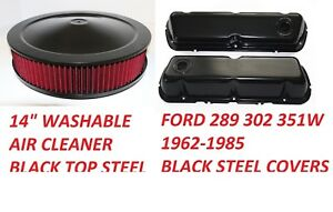 62-85 FORD Mustang Black Steel Valve Covers BAFFLE WASHABLE AIR CLEANER NEW KIT