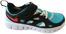 NIKE FREE RUN 2 PSV KIDS LIGHTWEIGHT SPORTS TRAINERS WHITE BLACK TURQUOISE BLUE