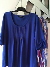 SARA Midnight Blue Short Sleeve Stretch Tunic Top Blouse XL 16 18 PC