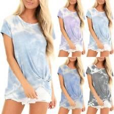 Women Ladies Tie-Dye Printed T Shirt Kink Short Sleeve Summer Casual Blouse Tops