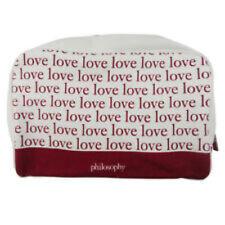 New Philosophy White & Pink Love Canvas Gold Zipper Makeup Toiletry Bag Clutch D