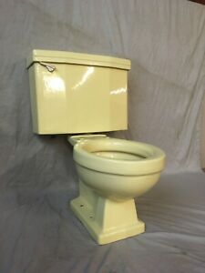Vtg Mid Century Chiffon Yellow Porcelain Complete Toilet Old Standard 439-20E