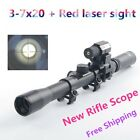Hunting 3-7X20 Air Gun Rifle Optics Cross Reticle Scope& Red Laser Sight&Mount