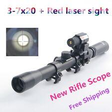 3-7X20 Air Gun Rifle Optics Cross Reticle Scope +20mm Rail Mounts +Red Dot Laser